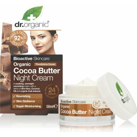 Dr. Organic Éjszakai arcápoló krém bio kakaóvajjal (50 ml)