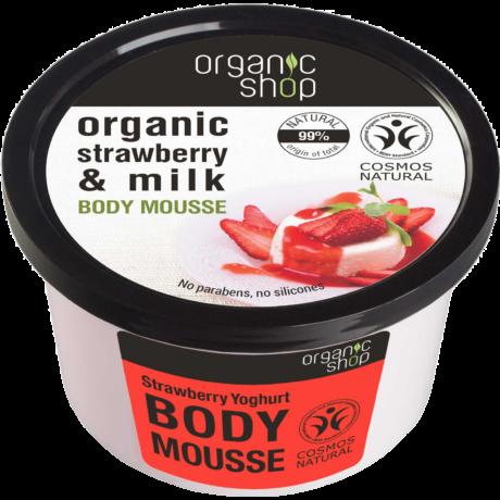 Organic Shop Eper Joghurt Testápoló Mousse - eper, tej (250 ml)