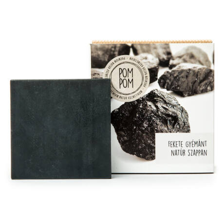 PomPom Fekete gyémánt natúr szappan négyzet (100 g)