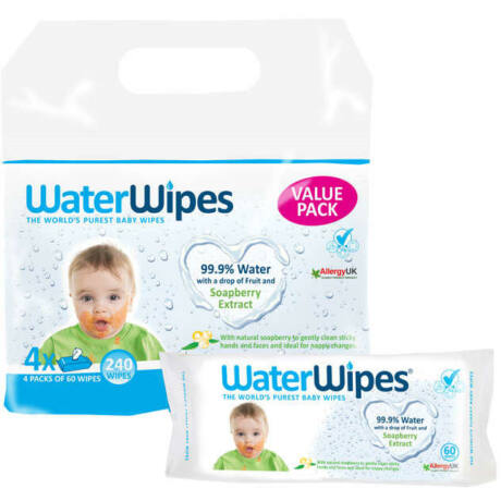 Waterwipes Soapberry (szappanbogyós) törlőkendő - value pack (4×60 db)