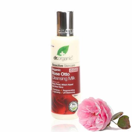 Dr. Organic Bio damaszkuszi rózsa arctisztító tej