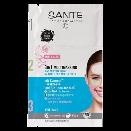 Sante Multimaszk 3 az 1-ben - matt és feszes arcbőr (3 × 3 ml)