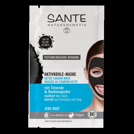 Sante Aktív szenes maszk mélytisztító hatással (2 × 4 ml)