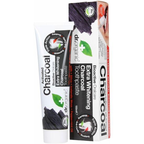 Dr. Organic Extra fehérítő fogkrém aktív szénnel (100 ml)