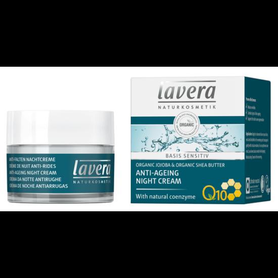 Lavera BASIS Sensitive Öregedésgátló éjszakai arckrém - Q10 koenzim, jojoba, sheavaj (50 ml)